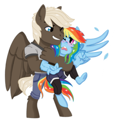 Size: 1201x1266 | Tagged: anthro, artist:dbkit, blushing, dumbbell, dumbdash, feather, female, hug, looking at each other, male, one eye closed, open mouth, pegasus, rainbow dash, safe, shipping, simple background, smiling, smirk, spread wings, straight, transparent background, underhoof, unguligrade anthro, wings
