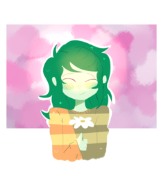 Size: 3897x4250   Tagged: safe, artist:noahther, wallflower blush, equestria girls, equestria girls series, forgotten friendship, absurd resolution, blushing, clothes, eyes closed, female, flower, pun, shirt, signature, simple background, smiling, solo, transparent background, visual pun