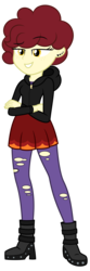 Size: 3125x9375 | Tagged: safe, artist:besttubahorse, oc, oc only, oc:chimie changa, equestria girls, absurd resolution, boots, clothes, ear piercing, equestria girls-ified, female, freckles, high heel boots, hoodie, pantyhose, piercing, ripped pantyhose, shoes, simple background, skirt, solo, torn clothes, transparent background, vector