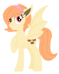 Size: 1024x1275 | Tagged: artist:saukapie, bat pony, fangs, female, hairband, mare, oc, oc:cookie crumb, oc only, offspring, parent:big macintosh, parent:fluttershy, parents:fluttermac, safe, simple background, solo, transparent background, vampony
