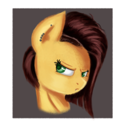 Size: 2000x2000 | Tagged: safe, artist:qbellas, oc, pony, female, mare, piercing, simple background, solo