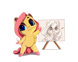 Size: 2000x1600 | Tagged: dead source, safe, artist:miokomata, fluttershy, pegasus, pony, bipedal, butts, chibi, colored hooves, cute, dialogue, drawing, eye reflection, fangs, female, freckles, mouth hold, open mouth, pencil, pencil drawing, plot, reflection, shyabetes, simple background, sketch, smiling, solo, traditional art, transparent background, wingding eyes