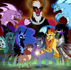 Size: 600x592   Tagged: dead source, safe, artist:melspyrose, adagio dazzle, aria blaze, bray, grogar (g1), king sombra, lord tirek, nightmare moon, queen chrysalis, sonata dusk, alicorn, changeling, donkey, siren, g1, alicorn amulet, antagonist, cloven hooves, dazzling, evil, evil grin, grin, male, ram, shadow king, smiling, sombracorn, the dazzlings, villainess, villains of equestria