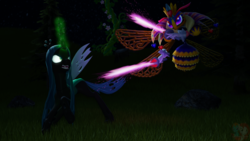Size: 1920x1080 | Tagged: safe, artist:latias-llusion, queen chrysalis, bee, changeling, 3d, antagonist, crossover, duo, female, fight, kirby, kirby triple deluxe, magic, queen bee, queen sectonia, source filmmaker