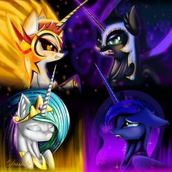 Size: 6400x6401 | Tagged: safe, artist:darksly, daybreaker, nightmare moon, princess celestia, princess luna, alicorn, pony, absurd resolution, angry, ethereal mane, feelings, female, galaxy mane, horn, mare, princess, sad, wallpaper, wings
