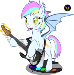 Size: 1024x1037 | Tagged: safe, artist:kyoshyu, oc, oc:eclaircie clearing, bat pony, bat pony oc, bat wings, electric guitar, fangs, female, game, glasses, green eyes, guitar, musical instrument, pedal, simple background, transparent background