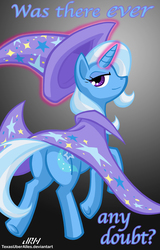 Size: 720x1128 | Tagged: safe, artist:texasuberalles, trixie, pony, unicorn, butt, cape, clothes, female, glowing horn, gradient background, hat, looking at you, looking back, magic, mare, plot, solo, telekinesis, the great and powerful ass, trixie's cape, trixie's hat, was there ever any doubt?