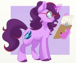Size: 1024x853 | Tagged: safe, artist:itstaylor-made, oc, oc only, oc:aramau, pony, unicorn, clipboard, female, levitation, magic, mare, solo, telekinesis