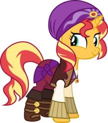 Size: 1000x1147 | Tagged: safe, artist:cloudyglow, sunset shimmer, pony, equestria girls, movie magic, spoiler:eqg specials, clothes, equestria girls outfit, equestria girls ponified, female, ponified, simple background, solo, sunshim, transparent background
