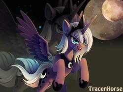 Size: 1780x1330 | Tagged: dead source, safe, artist:tracerhorse, princess luna, alicorn, pony, female, mare, moon, night, solo, spread wings, stars, wings, zoom layer