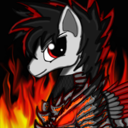 Size: 1600x1600 | Tagged: safe, artist:meteor-strike-mlp, oc, oc:meteor strike, armor pony, armor, red and black oc, red eyes