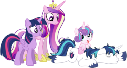 Size: 3999x2143 | Tagged: safe, artist:bluetech, artist:deyrasd, artist:paganmuffin, artist:sakatagintoki117, edit, editor:slayerbvc, princess cadance, princess flurry heart, shining armor, twilight sparkle, alicorn, pony, unicorn, baby, baby pony, family, female, filly, foal, looking back, looking down, looking up, male, mare, messy mane, ponies riding ponies, royal family, simple background, sleeping, smiling, stallion, stubble, tired, tongue out, transparent background, twilight sparkle (alicorn)