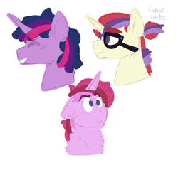 Size: 1910x1829 | Tagged: safe, artist:ducksgonnaduck985, moondancer, twilight sparkle, oc, oc:valentine rose, unicorn, bust, colt, dusk shine, family, gay, lunar waltz, magical gay spawn, male, next generation, parent:dusk shine, parent:lunar waltz, parents:twidancer, portrait, rule 63, shipping, simple background, twidancer, white background