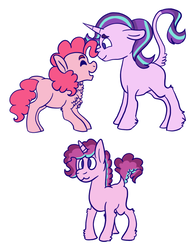 Size: 913x1166 | Tagged: safe, artist:ducksgonnaduck985, pinkie pie, starlight glimmer, oc, oc:cotton candy, classical unicorn, earth pony, pony, unicorn, alternate universe, chest fluff, cloven hooves, family, female, glimmerpie, leonine tail, lesbian, magical lesbian spawn, mare, next generation, offspring, parent:pinkie pie, parent:starlight glimmer, parents:glimmerpie, shipping, simple background, unshorn fetlocks, white background