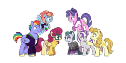 Size: 1024x512 | Tagged: safe, artist:hateful-minds, aunt orange, bow hothoof, cloudy quartz, cookie crumbles, posey shy, twilight velvet, windy whistles, braces, clothes, pregnant, simple background, sweater, white background, younger