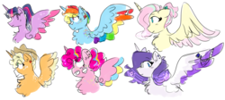Size: 1024x459 | Tagged: alicorn, alicornified, alicorn six, applecorn, applejack, artist:mamicifer, colored wings, fluttercorn, fluttershy, mane six, mane six alicorns, multicolored wings, pinkiecorn, pinkie pie, race swap, rainbowcorn, rainbow dash, rainbow wings, raricorn, rarity, safe, twilight sparkle, twilight sparkle (alicorn), xk-class end-of-the-world scenario