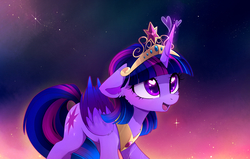 Size: 2661x1693 | Tagged: safe, artist:magnaluna, twilight sparkle, alicorn, pony, abstract background, big crown thingy, cute, daaaaaaaaaaaw, element of magic, female, floppy ears, happy, heart, heart eyes, hnnng, jewelry, magnaluna is trying to murder us, mare, open mouth, peytral, regalia, smiling, solo, sweet dreams fuel, tiara, twiabetes, twilight sparkle (alicorn), wingding eyes