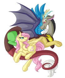 Size: 5000x5965 | Tagged: safe, artist:amazing-artsong, discord, fluttershy, draconequus, pegasus, pony, absurd resolution, blushing, discoshy, female, looking at each other, male, mare, shipping, simple background, smiling, straight, transparent background