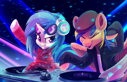 Size: 3960x2560 | Tagged: adidas, artist:taneysha, clothes, club, commission, dj pon-3, eyes closed, female, gopnik, hat, headphones, lights, male, mare, music, oc, oc:rack redstar, pegasus, safe, slav, smiling, stallion, sunglasses, sweater, table, unicorn, vinyl scratch
