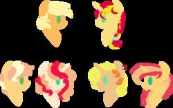 Size: 1024x645 | Tagged: safe, artist:belladrawsstuff2004, applejack, sunset shimmer, oc, oc:blaze, oc:caramel apple, oc:dusk apple, oc:serenity, earth pony, pony, unicorn, alternate hairstyle, appleshimmer, family, female, lesbian, magical lesbian spawn, offspring, parent:applejack, parent:sunset shimmer, parents:appleshimmer, shipping, simple background, transparent background