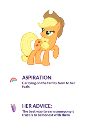 Size: 386x576 | Tagged: safe, applejack, advice, aspiration, discussion, official, wholesome