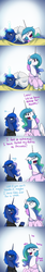 Size: 1200x7200 | Tagged: safe, artist:anticular, princess celestia, princess luna, alicorn, pony, ask sunshine and moonbeams, bags under eyes, bed, blanket, bust, cellphone, clothes, comic, dialogue, duo, female, glowing horn, gradient background, hoodie, laughing, magic, mare, open mouth, oversleeping, pajamas, phone, pillow, raised hoof, royal sisters, sleeping, smartphone, sweat, telekinesis, waking up