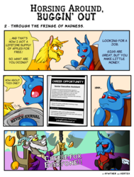 Size: 2000x2646 | Tagged: artist:hywther, artist:vertexthechangeling, changedling, changedling oc, changeling, comic:horsing around buggin' out, crossover, discord, draconequus, haskill, newspaper, oblivion, oc, oc:hywther, oc:vertexthechangeling, safe, sheogorath, the elder scrolls, unamused, unicorn, unshorn fetlocks