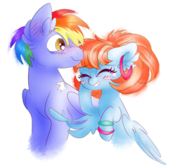 Size: 4016x3778 | Tagged: artist:pinkablue, blushing, bow hothoof, cute, ear fluff, ear piercing, earring, eyes closed, female, jewelry, laughing, male, mare, pegasus, piercing, pony, rainbow dash's parents, raised hoof, safe, shipping, simple background, stallion, straight, white background, windyhoof, windy whistles, younger