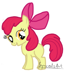 Size: 1920x2075 | Tagged: apple bloom, artist:lauren faust, artist:syncedsart, digital art, earth pony, female, filly, pony, safe, simple background, solo, transparent background, wacom