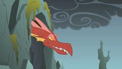 Size: 1280x720 | Tagged: safe, screencap, basil, dragon, dragonshy, angry, cave, male, smoke, solo