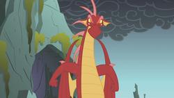 Size: 1280x720 | Tagged: safe, screencap, basil, dragon, dragonshy, angry, glare, male, smoke, solo, standing up