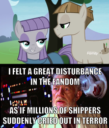 Size: 1178x1375 | Tagged: clothes, discovery family logo, dress, earth pony, edit, edited screencap, female, male, maudbriar, maud pie, meme, mudbriar, obi wan kenobi, pony, safe, screencap, shipping, smiling, star wars, straight, text, the maud couple
