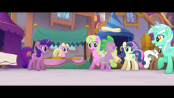 Size: 1280x720   Tagged: safe, screencap, bon bon, lyra heartstrings, spike, sweetie drops, my little pony: the movie, festival of friendship, scroll