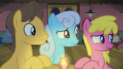 Size: 1920x1080 | Tagged: caramel, cherry berry, linky, raised eyebrow, safe, screencap, shoeshine, the maud couple