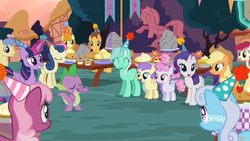 Size: 1920x1080 | Tagged: alicorn, applejack, bon bon, caramel, carrot top, cheerilee, goldengrape, golden harvest, hat, linky, lyra heartstrings, party, party hat, rarity, roseluck, safe, screencap, shoeshine, sir colton vines iii, spike, sweetie drops, the maud couple, twilight sparkle, twilight sparkle (alicorn)