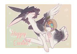 Size: 1610x1140 | Tagged: artist:monogy, basket, easter, easter bunny, female, holiday, oc, oc:monogy, pale belly, paws, rabbit pony, safe, solo, species swap, tongue out
