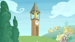 Size: 1920x1080 | Tagged: clock tower, discovery family logo, pinkie pie, ponyville, safe, screencap, solo, the maud couple