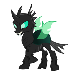 Size: 550x550 | Tagged: artist:ashidaru, changeling, fangs, safe, simple background, solo, transparent background