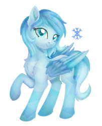 Size: 849x1047   Tagged: safe, artist:dusthiel, oc, oc only, oc:winter, crystal pony, pony, chest fluff, colored pupils, colored wings, crystal pegasus, crystal pony oc, female, leg fluff, looking at you, mare, raised hoof, simple background, solo, transparent background