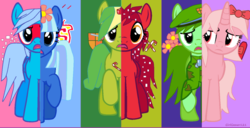 Size: 1024x524 | Tagged: apple bloom, flaky, flippy, fusion, giggles (happy tree friends), google chrome, happy tree friends, it's no use, nutty, petunia (happy tree friends), ponified, pony, safe, splendid, wat, what my cutie mark is telling me