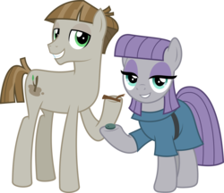 Size: 5039x4354 | Tagged: absurd res, artist:jhayarr23, boulder (pet), duo, earth pony, maudbriar, maud pie, mudbriar, pony, safe, shipping, simple background, smiling, the maud couple, transparent background, twiggy (pet), vector, when he smiles, when she smiles