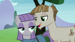 Size: 1920x1080 | Tagged: duo, earth pony, female, male, mare, maudbriar, maud pie, mudbriar, pony, safe, screencap, shipping, smiling, stallion, straight, the maud couple, when he smiles, when she smiles