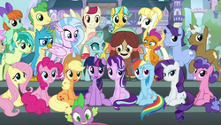 Size: 1920x1080 | Tagged: safe, screencap, applejack, berry blend, berry bliss, citrine spark, clever musings, fire quacker, fluttershy, gallus, november rain, ocellus, peppermint goldylinks, pinkie pie, rainbow dash, rarity, sandbar, silverstream, smolder, spike, starlight glimmer, sugar maple, twilight sparkle, yona, alicorn, changedling, changeling, classical hippogriff, dragon, earth pony, griffon, hippogriff, pegasus, pony, unicorn, school daze, cloven hooves, cowboy hat, female, friendship student, hat, intro, jewelry, looking at you, male, mane six, mare, necklace, school of friendship, sitting, stallion, student six, teenager, theme song, twilight sparkle (alicorn)