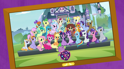 Size: 1920x1080 | Tagged: safe, screencap, applejack, auburn vision, berry blend, berry bliss, citrine spark, clever musings, fire quacker, fluttershy, gallus, huckleberry, november rain, ocellus, peppermint goldylinks, pinkie pie, rainbow dash, rarity, sandbar, silverstream, slate sentiments, smolder, spike, starlight glimmer, strawberry scoop, sugar maple, summer breeze, summer meadow, twilight sparkle, yona, alicorn, changedling, changeling, classical hippogriff, dragon, earth pony, griffon, hippogriff, pegasus, pony, unicorn, yak, school daze, season 8, bow, cloven hooves, cowboy hat, female, framed picture, friendship student, hair bow, hair bun, hat, intro, jewelry, looking at you, male, mane six, mare, necklace, salute, school of friendship, sitting, stallion, student six, teenager, twilight sparkle (alicorn), wall of tags
