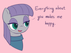 Size: 800x597   Tagged: safe, artist:puetsua, maud pie, earth pony, pony, the maud couple, clothes, cute, dialogue, female, lidded eyes, mare, maudabetes, positive ponies, simple background, smiling, when she smiles