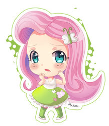 Size: 600x690 | Tagged: safe, artist:love2eategg, fluttershy, equestria girls, anime, blushing, boots, chibi, clothes, cute, female, hairpin, human coloration, looking at you, open mouth, shirt, shoes, shyabetes, simple background, skirt, solo, tanktop, white background