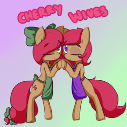 Size: 2500x2500 | Tagged: safe, artist:ask-thecherries, artist:lockheart, oc, oc only, oc:cherry sweetheart, oc:stella cherry, earth pony, pony, apron, bow, clothes, duo, female, hair bow, mare, one eye closed, smiling, tail bow, wink