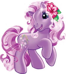 Size: 447x500   Tagged: safe, wysteria, g3, official, female, flower, flower in hair, simple background, solo, sparkles, transparent background