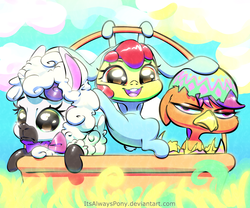 Size: 3000x2500 | Tagged: safe, artist:itsalwayspony, apple bloom, scootaloo, sweetie belle, earth pony, pegasus, pony, sheep, unicorn, adorabloom, animal costume, basket, bunny bloom, bunny costume, chicken suit, clothes, costume, cute, cutealoo, cutie mark crusaders, diasweetes, easter basket, female, scootachicken, sheepie belle