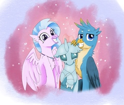 Size: 1514x1284 | Tagged: safe, artist:fallenangel5414, gallus, ocellus, silverstream, changedling, changeling, classical hippogriff, griffon, hippogriff, school daze, abstract background, chest fluff, cute, diaocelles, diastreamies, fangs, featured image, female, floppy ears, gallabetes, grin, leg fluff, lidded eyes, looking at you, male, raised hoof, shy, smiling, smirk, spread wings, squee, sweet dreams fuel, trio, wing fluff, wings